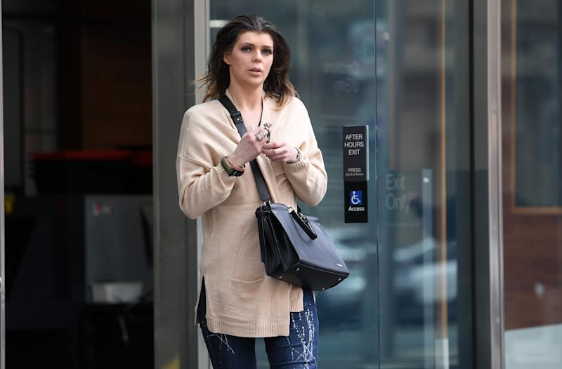 Jonita Ragaisyte leaves the County Court of Victoria in Melbourne. She pleaded guilty to two charges of possessing a drug of dependence. Source: AAP Image.