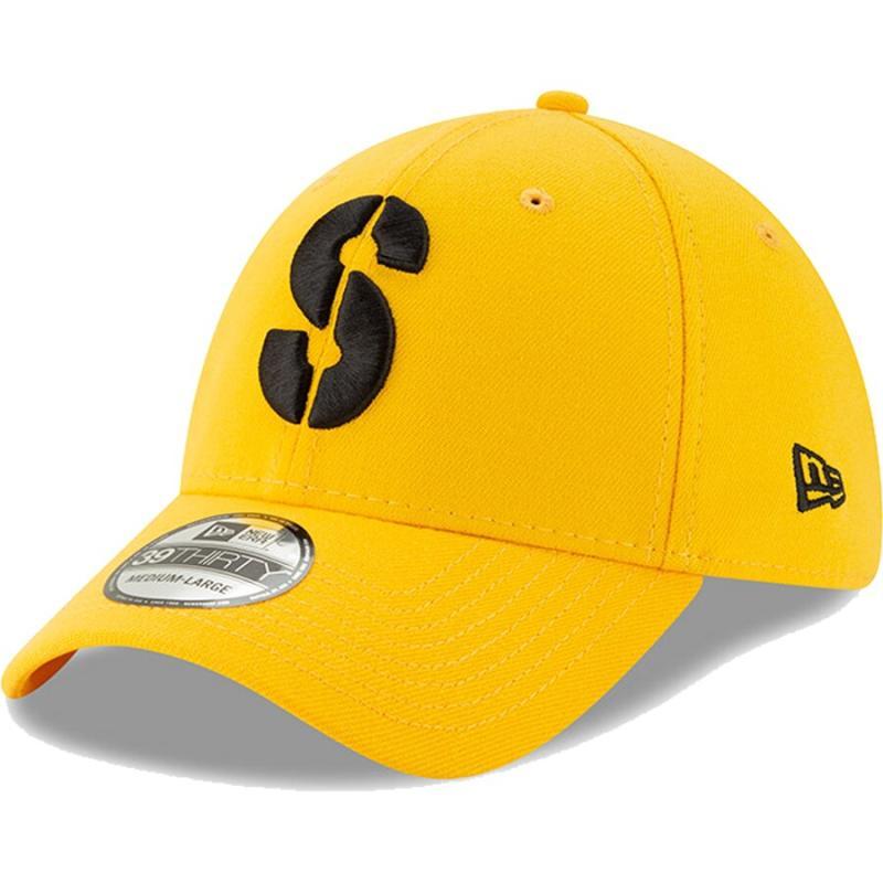 Men's New Era Gold Pittsburgh Steelers Team Classic Throwback 39THIRTY Flex Hat