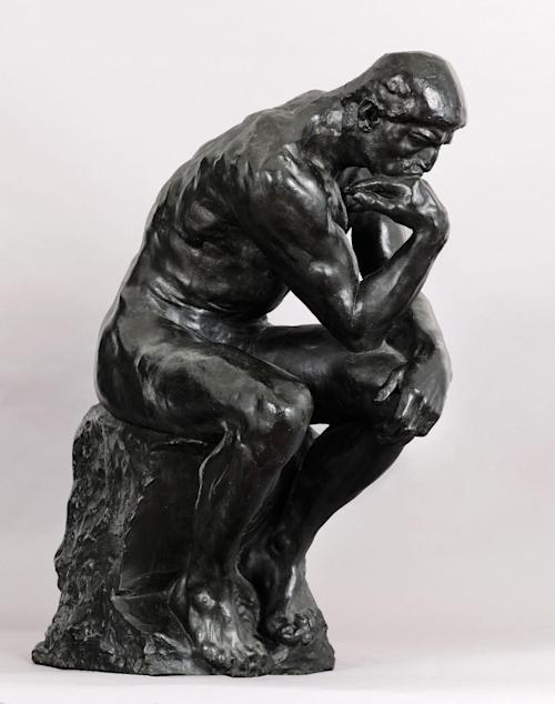 """In this photo provided by Sotheby's, Friday, April 12, 2013, is the Auguste Rodin sculpture, """"The Thinker."""" The full-scale bronze was commissioned by publishing magnate Ralph Pulitzer in 1906. It is part of an Impressionist and Modern Art auction scheduled for May 7, 2013 in New York. (AP Photo/Sotheby's)"""