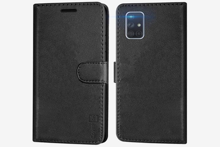 Photo shows the front and back of a Samsung Galaxy A71 5G phone in a black faux-leather wallet folio case