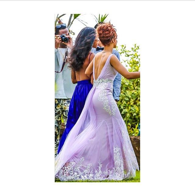 Rihanna Might Just Be the Best Bridesmaid Ever--Check Out Her Amazing Purple Dress!