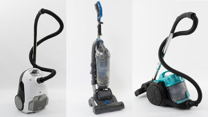 L to R: Kmart Anko 2000W Bagged Vacuum, Kmart Anko 1200W Upright Vacuum and Kmart Anko 2400W Bagless Vacuum. Photo: CHOICE (supplied).