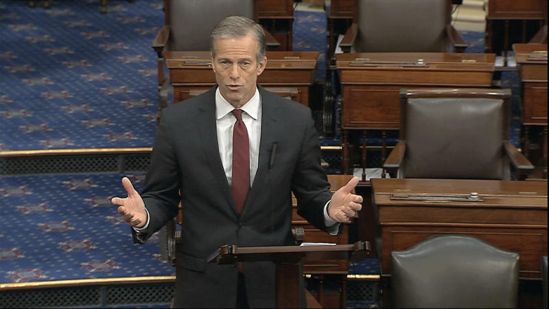 In this image from video, Sen. John Thune, R-S.D., speaks on the Senate floor at the U.S. Capitol in Washington, Sunday, March 22, 2020. (Senate Television via AP)