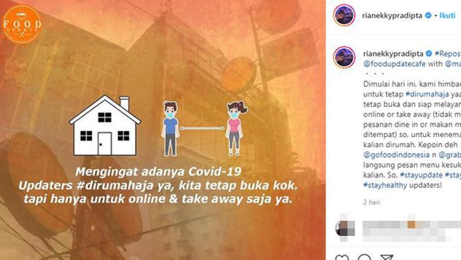 Sederet selebriti Tanah Air yang tutup sementera usaha dan bisnis akibat COVID-19.(Sumber: Instagram/@rianekkypradipta)