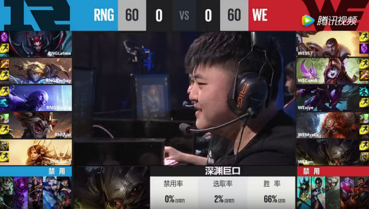 The first draft between RNG and Team WE (lolesports)