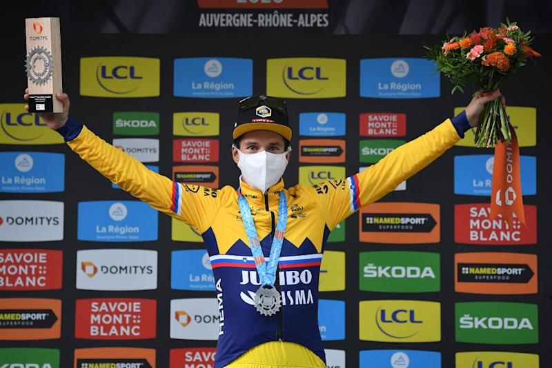 CHARTREUSE FRANCE AUGUST 13 Podium Primoz Roglic of Slovenia and Team Jumbo Visma Celebration during the 72nd Criterium du Dauphine 2020 Stage 2 a 135km stage from Vienne to Col de PorteChartreuse 1316m dauphine Dauphin on August 13 2020 in Chartreuse France Photo by Justin SetterfieldGetty Images