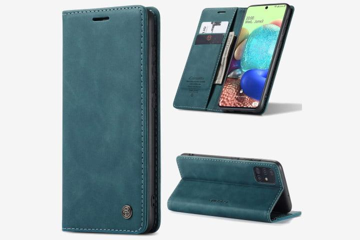 Photo shows a Samsung Galaxy A71 5G phone in a blue suede-effect leather case, from three different angles: closed, open, and with the kickstand folded out