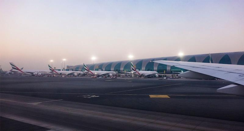 A plane has crashed at Dubai Airport, killing all four on-board