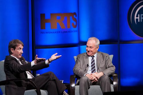 "This Tuesday, April 16, 2013 photo released by The Hollywood Radio and Television Society shows actor/comedian Martin Short, left, with Lorne Michaels at the presentation of ""Comedy on TV: A Conversation with Lorne Michaels,"" moderated by Short, during The Hollywood Radio and Television Society (HRTS) event at The Beverly Hilton in Beverly Hills, Calif. Short co-stars in a pilot for a new comedy under consideration for the upcoming TV season. (AP Photo/The Hollywood Radio and Television Society, Chyna Photography)"