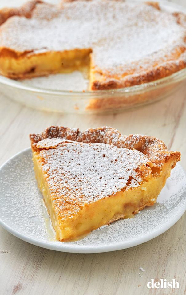 """<p>If you haven't had this gem before—today's your lucky day.</p><p>Get the recipe from <a href=""""https://www.delish.com/cooking/recipe-ideas/a28439069/chess-pie-recipe/"""" target=""""_blank"""">Delish</a>.</p>"""