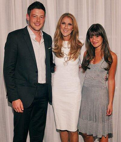 RIP, Cory Monteith: Stars Honor Him With Photos on Twitter - Cory Monteith and Lea Michele with Celine Dion in june 2012. #RipCoryMonteith