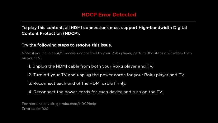 Roku HDCP Error message