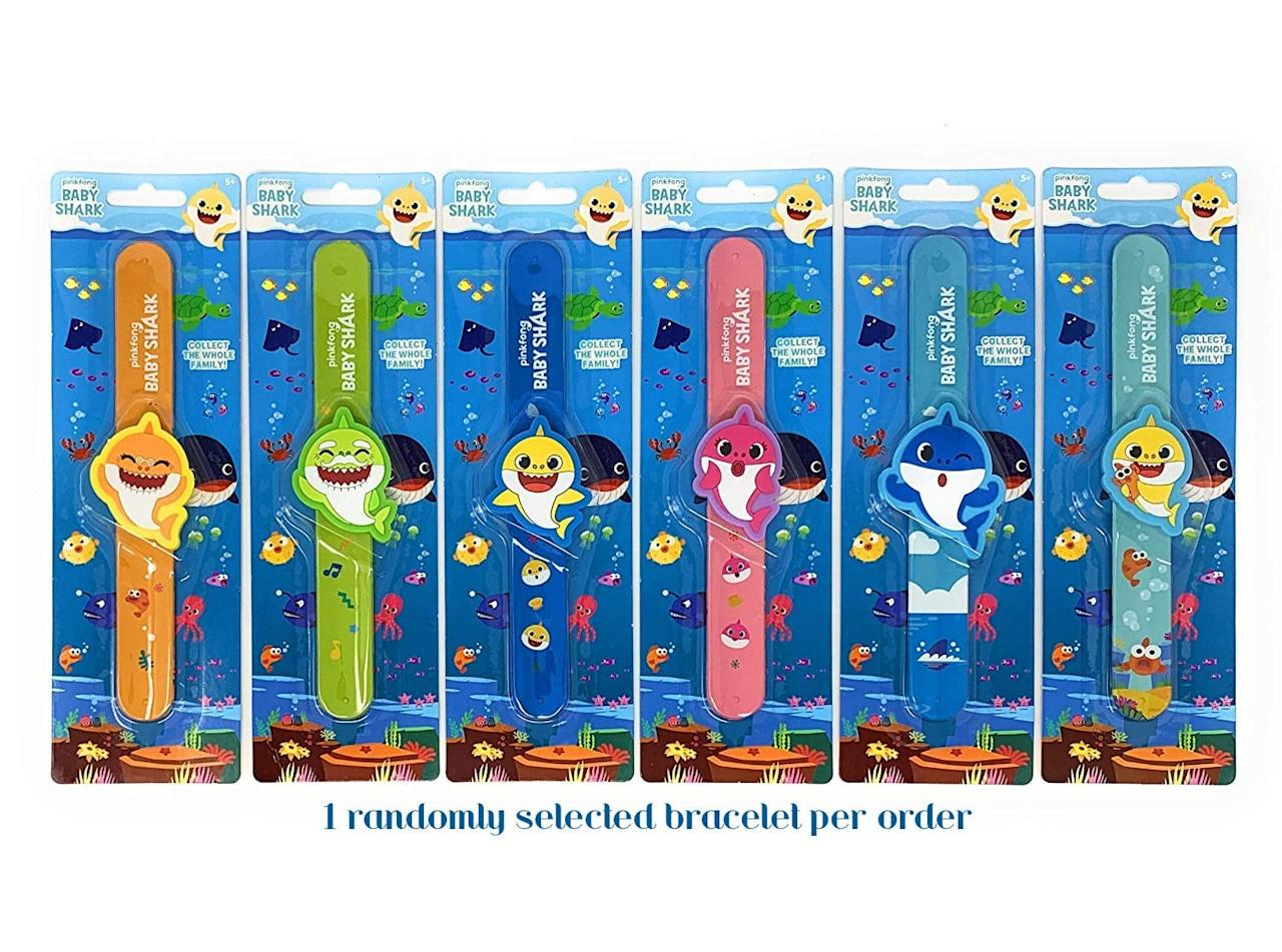 "<p>These <a href=""https://www.popsugar.com/buy/Pinkfong-Baby-Shark-Slap-Bracelets-585726?p_name=Pinkfong%20Baby%20Shark%20Slap%20Bracelets&retailer=amazon.com&pid=585726&price=5&evar1=moms%3Aus&evar9=45808433&evar98=https%3A%2F%2Fwww.popsugar.com%2Fphoto-gallery%2F45808433%2Fimage%2F45808439%2FCute-Gift-Idea&list1=toy%20fair%2Ckid%20shopping&prop13=api&pdata=1"" rel=""nofollow"" data-shoppable-link=""1"" target=""_blank"" class=""ga-track"" data-ga-category=""Related"" data-ga-label=""https://www.amazon.com/Pinkfong-Baby-Shark-Bracelet-Charm/dp/B07QFFKSXS/ref=sr_1_2?"" data-ga-action=""In-Line Links"">Pinkfong Baby Shark Slap Bracelets</a> ($5 each) let children ages 2 and up pick from mommy, daddy, or baby shark. Slap them on your wrists and bring them everywhere you go! </p>"