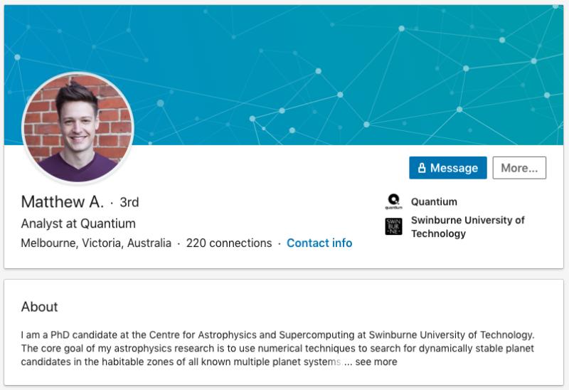 A screenshot of Matt Agnew's LinkedIn account.