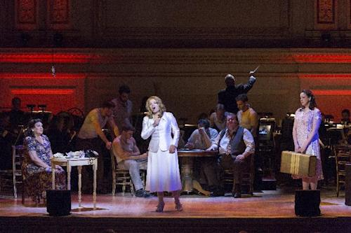 "This March 14, 2013 publicity photo provided by Carnegie Hall shows, from left, Victoria Livengood, Mezzo-Soprano as Eunice Hubbell, Renée Fleming, Soprano as Blanche DuBois and Susanna Phillips, Soprano as Stella Kowalski, in a scene from Andre Previn's, ""A Streetcar Named Desire,"" in the Stern Auditorium, at Carnegie Hall in New York. (AP Photo/Carnegie Hall, Richard Termine)"