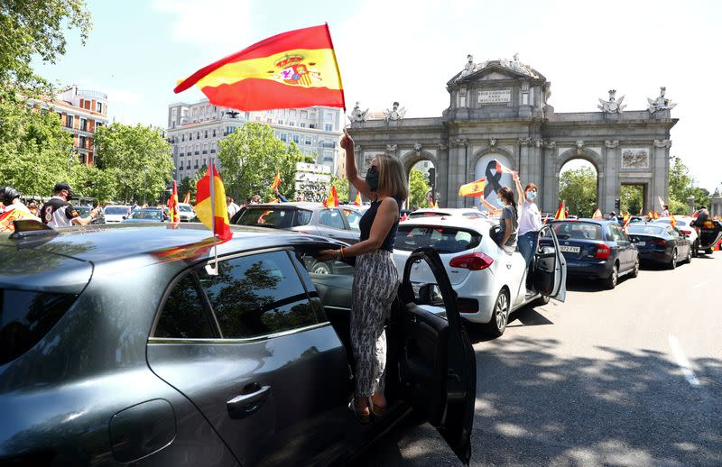Protest against the government's handling of the coronavirus disease (COVID-19) pandemic in Madrid