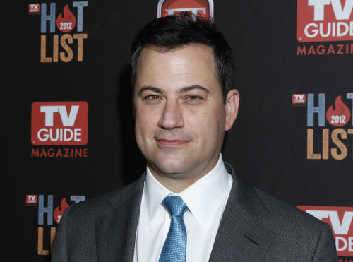 "FILE - This Nov. 12, 2012 file photo shows Jimmy Kimmel at the TV Guide Magazine's 2012 Hot List Party at Skybar at the Mondrian Hotel in West Hollywood, Calif. Kimmel went head-to-head Tuesday, Jan. 8, 2013, for the first time against CBS' ""Late Show with David Letterman"" and NBC's ""Tonight Show with Jay Leno."" According to Nielsen fast national ratings, Kimmel edged out Letterman and ran slightly behind Leno in total viewers. (Photo by Todd Williamson/Invision/AP, file)"