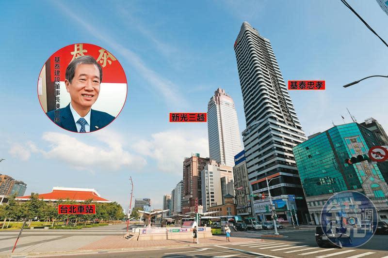 基泰忠孝高37層,位於新光三越旁,被視為台北車站前的新地標。基泰建設董事長陳世銘(小圖)因基泰忠孝案,遭投資人提告詐欺。