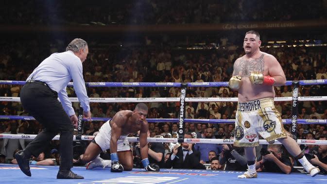 Andy Ruiz Jr memukul jatuh juara tinju kelas berat dunia WBA, WBO, dan IBF Anthony Joshua dalam pertarungan di Madison Square Garden, New York, Amerika Serikat, Minggu (2/6/2019) pagi WIB. (AP Photo/Frank Franklin II)