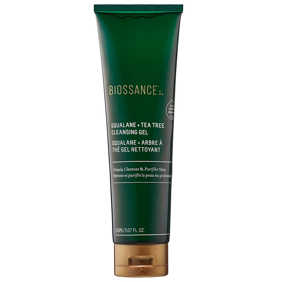 """<p><strong>Biossance</strong></p><p>sephora.com</p><p><strong>$29.00</strong></p><p><a href=""""https://go.redirectingat.com?id=74968X1596630&url=https%3A%2F%2Fwww.sephora.com%2Fproduct%2Fsqualane-tea-tree-cleansing-gel-P442549&sref=https%3A%2F%2Fwww.bestproducts.com%2Fbeauty%2Fg33658472%2Fproducts-to-treat-maskne%2F"""" target=""""_blank"""">Shop Now</a></p><p>Want a cleanser that will <em>actually </em>cleanse your skin without over-stripping? Then grab this one, stat: It's infused with <a href=""""https://www.bestproducts.com/beauty/g26855992/tea-tree-oil-for-skin/"""" target=""""_blank"""">tea tree oil</a> to control oil production and cleanse skin of any blemish-causing impurities, but also includes moisturizing <a href=""""http://www.self.com/story/what-is-squalane-oil-skin-care"""" target=""""_blank"""">squalane</a> to give your complexion a radiant and hydrated glow.<em></em></p>"""