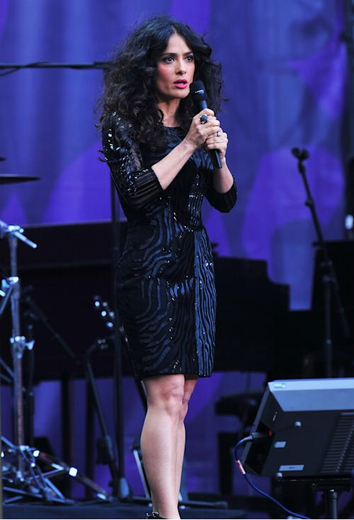 Salma Hayek hosting The Sound of Change Live at Twickenham Stadium in London on Saturday, June 1st, 2013. (Photo by Jon Furniss/Invision/AP Images)