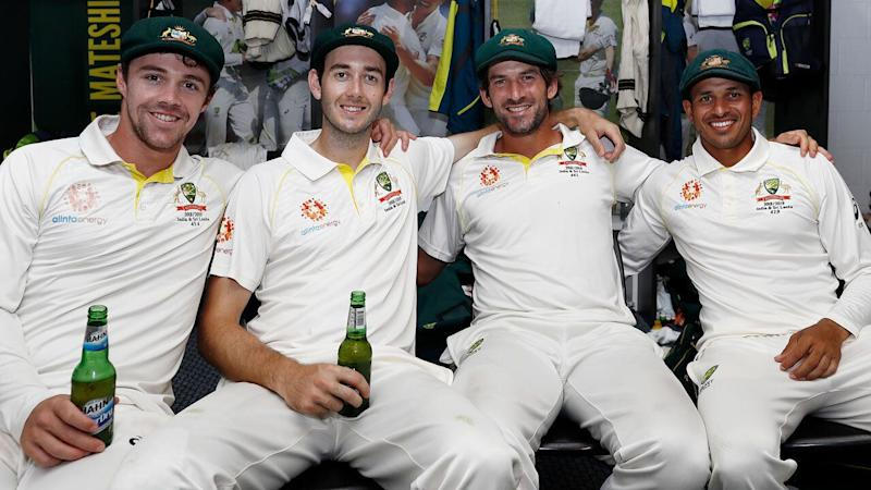 Joe Burns (second from right) appears unlikely to return to Australia's Test squad for the Ashes. Pic: Getty