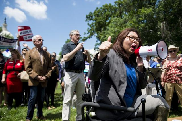 Sen. Tammy Duckworth, D-Ill., speaks during the Senate Democrats' rally against Medicaid cuts in front of the U.S. Capitol on Tuesday, June 6, 2017. (Photo: Bill Clark/CQ Roll Call)