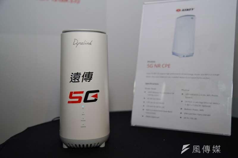 20200608-「遠傳X台達X微軟」8日舉行5G智慧製造記者會,遠傳展示5G數據機。(盧逸峰攝)