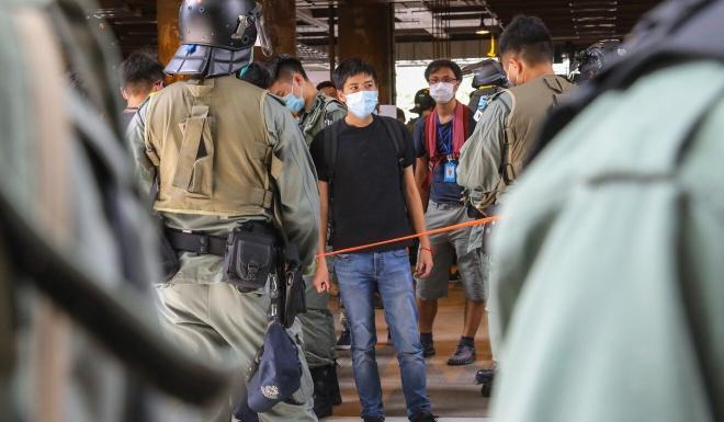 Tsuen Wan district councillor Lester Shum (centre) at the protest in Yuen Long on Sunday. Photo: Dickson Lee