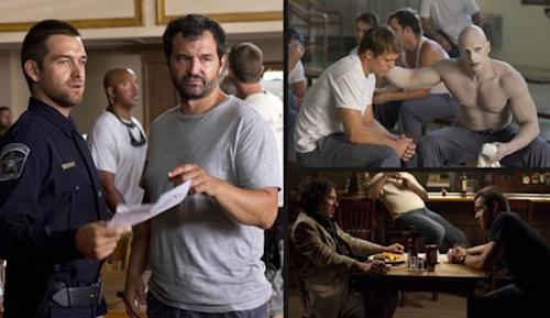 Greg Yaitanes with Antony Starr on the set of 'Banshee' (left); Michael Roark and Joseph Gatt in the 'Wicks' episode (top right); Michael Kostroff and Antony Starr, also in the 'Wicks' episode (bottom right) -- Fred Norris/Cinemax