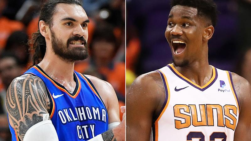 Oklahoma City's Steven Adams and Phoenix's DeAndre Ayton are heading into the next season with their teams looking very different. Pictures: Getty Images