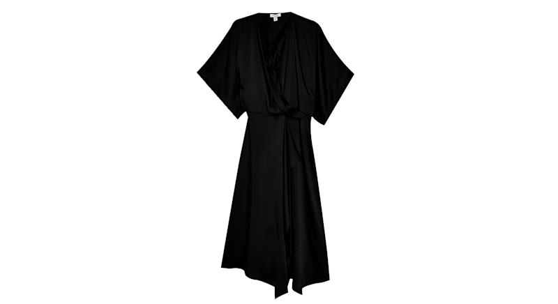 Black Wrap Front Dress By Topshop Boutique