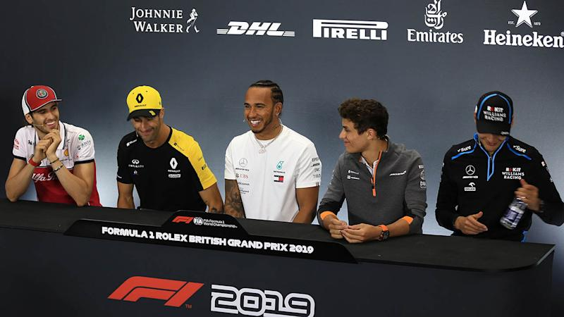 Antonio Giovinazzi, Daniel Ricciardo, Lewis Hamilton, Lando Norris and George Russell at the press conference. (photo by Octane/Action Plus via Getty Images)
