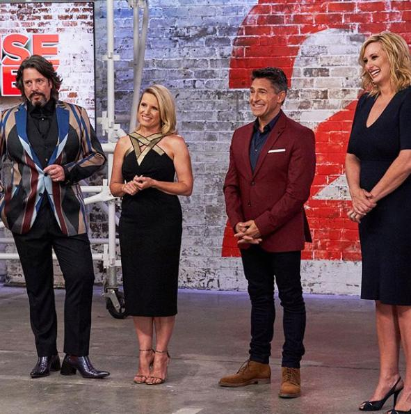 A photo of host Joh Griggs on the set of House Rules with judges Llewelyn Bowen, Wendy Moore and Jamie Durie.
