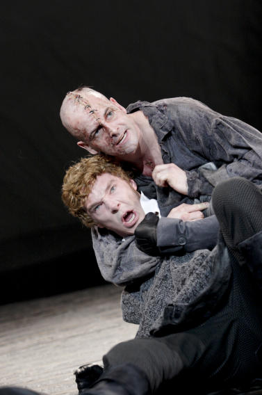 Jonny Lee Miller, right, and Benedict Cumberbatch in Frankenstein directed by Danny Boyle.
