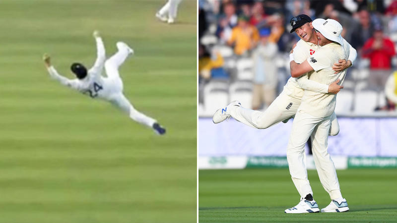 Joe Denly took an amazing catch on Day 5 of the second Ashes Test. (Image: Twitter/Getty Images)