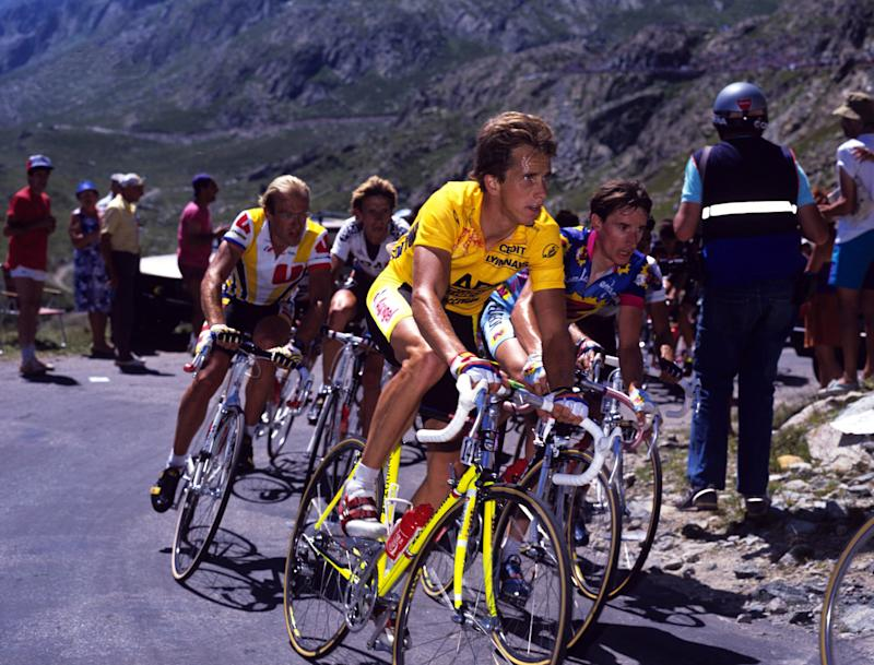 Greg LeMond on his fluorescent yellow Bottecchia at the 1989 Tour de France