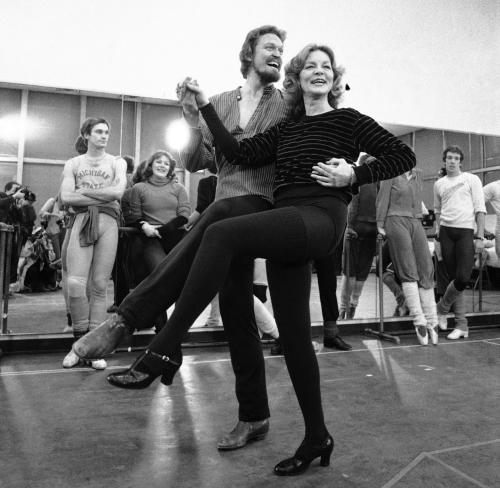 "FILE - This Jan. 14, 1981 file photo shows actress Lauren Bacall rehearsing with Eivind Harum, for the musical ""Woman of the Year,"" in New York. Bacall, the sultry-voiced actress and Humphrey Bogart's partner off and on the screen, died Tuesday, Aug. 12, 2014 in New York. She was 89. (AP Photo/Suzanne Vlamis, File)"