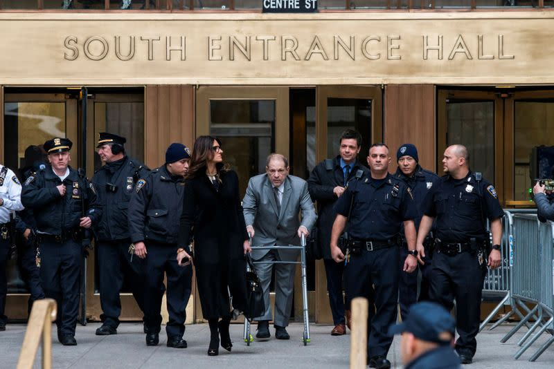 Film producer Harvey Weinstein exits the New York Criminal Court after his sexual assault trial in the Manhattan borough of New York City