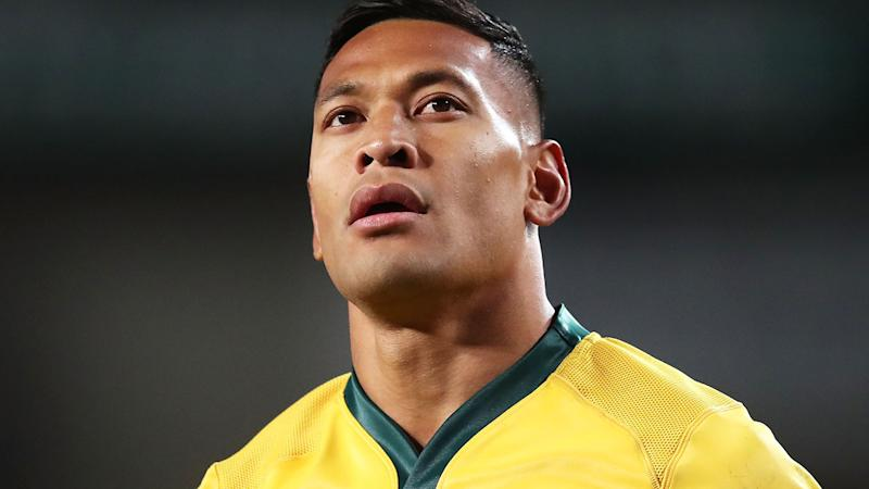 Israel Folau in action for the Wallabies in 2018, one of his final Tests. (Photo by Matt King/Getty Images)