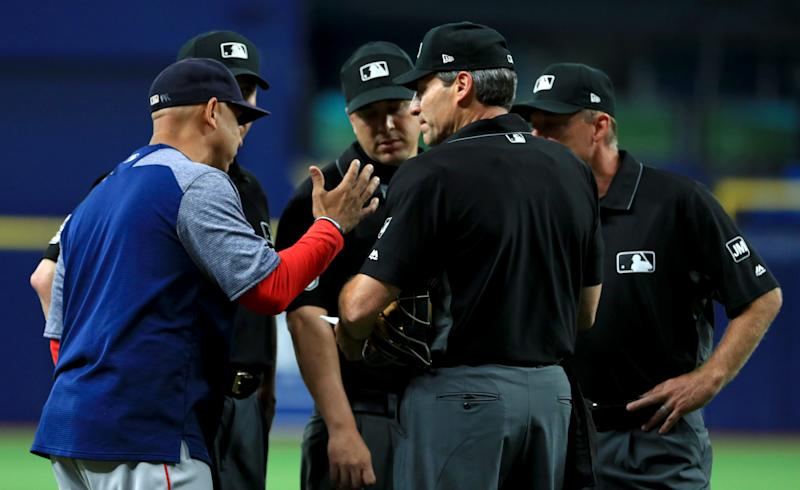 Alex Cora believes he caught the Rays breaking the rules and had the Red Sox play the rest of their game against the Rays under protest. (Photo by Mike Ehrmann/Getty Images)