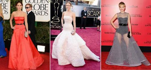 Jennifer Lawrence at the Golden Globes, the Oscars and the LA 'Catching Fire' premiere -- Getty Images