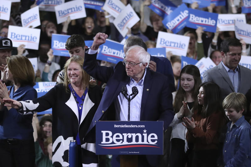 Democratic presidential candidate Sen. Bernie Sanders, I-Vt., speaks during a primary night election rally in Essex Junction, Vt., Tuesday, March 3, 2020. (AP Photo/Charles Krupa)