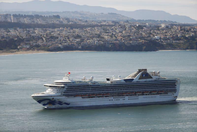 The cruise ship Grand Princess passes the Golden Gate bridge in San Francisco