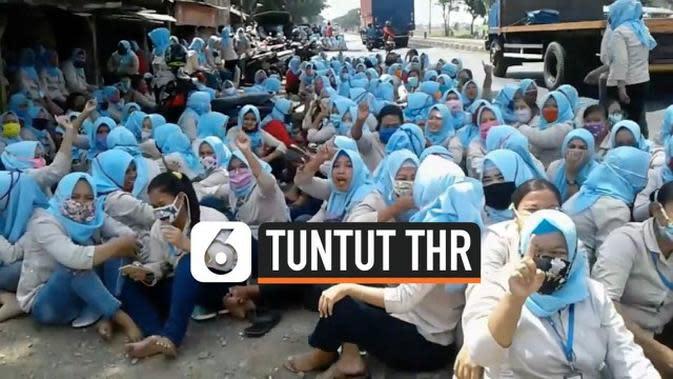 VIDEO: Abaikan PSBB, Ribuan Buruh di Subang Unjuk Rasa Tuntut THR
