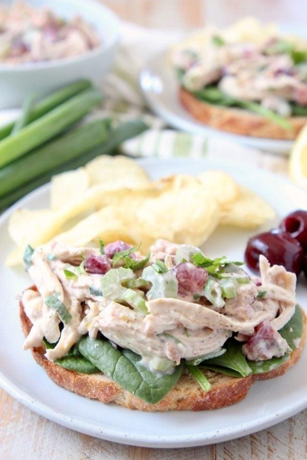 "<p>If you get bored with eating the same meals all week long, this chicken salad may be just the recipe you need. Make a batch at the beginning of the week, and you can serve it over greens, on a sandwich, or in a healthy wrap.</p> <p><strong>Get the recipe:</strong> <a href=""https://whitneybond.com/cherry-tarragon-chicken-salad-sandwich/"" target=""_blank"" class=""ga-track"" data-ga-category=""Related"" data-ga-label=""https://whitneybond.com/cherry-tarragon-chicken-salad-sandwich/"" data-ga-action=""In-Line Links"">cherry tarragon chicken salad</a></p>"