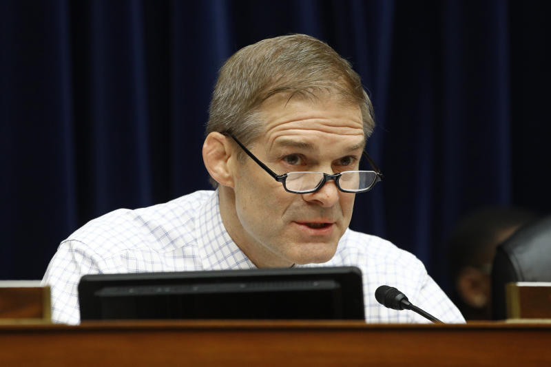 "FILE - In this Wednesday, March 11, 2020 file photo, Rep. Jim Jordan, R-Ohio, speaks during a House Oversight Committee hearing on preparedness for and response to the coronavirus outbreak on Capitol Hill in Washington. On Friday, March 27, 2020, The Associated Press reported on stories circulating online incorrectly asserting that Jordan said, ""I'm not too concerned about the Chinese virus. This is the worst economic crisis we've seen in 200 years. We've got to end the ridiculous ""shelter in place"" orders. I've spoken to many senior citizens and they're willing to take the risk and go back to work. If a few senior citizens die, I can live with that. Plus we won't have to pay them their social security ""handout,"" during a March 25, 2020, Fox & Friends appearance. Video records and transcripts show Jordan didn't appear on the television show Wednesday, while Congress hammered out details in a $2.2 trillion deal to assuage American's economic woes during the global coronavirus pandemic. (AP Photo/Patrick Semansky)"