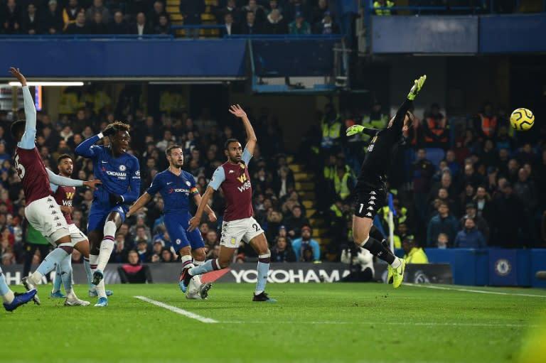 Tammy Abraham (second left) opens the scoring for Chelsea against Aston Villa