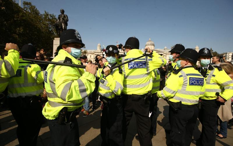 Police presence at an anti-vax protest in London's Trafalgar Square