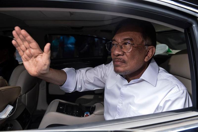 PKR president Datuk Seri Anwar Ibrahim leaving PKR hq in Petaling Jaya March 1, 2020. — Picture by Miera Zulyana